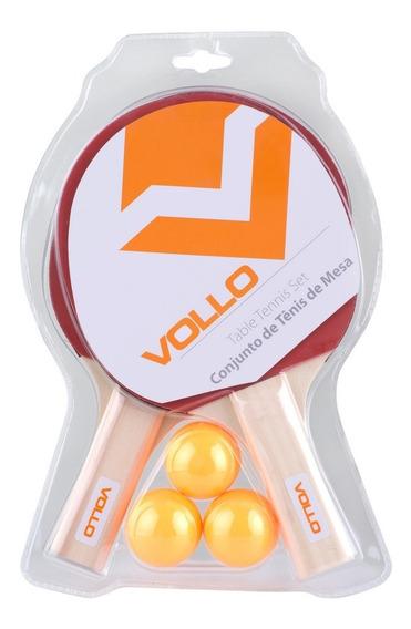 Kit Ping Pong Tênis De Mesa Vollo Vt610 2 Raquetes 3 Bolas