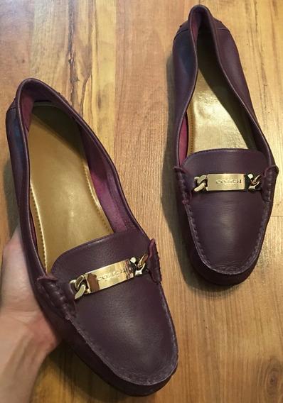 Zapatos Flats Mocasines Coach Olive Piel Fina 40 Originales