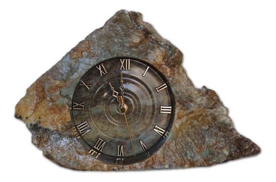 Relogio Rustico Em Pedra Sabão Linda Peça Altura 18 Cm