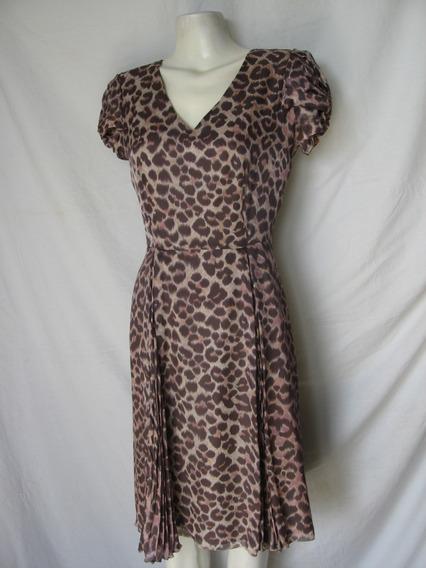 Vestido Seda, Talle M, Animal Print
