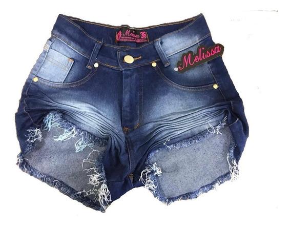 Kit 3 Shorts Jeans Feminino Lycra Cintura Alta Hot Pant