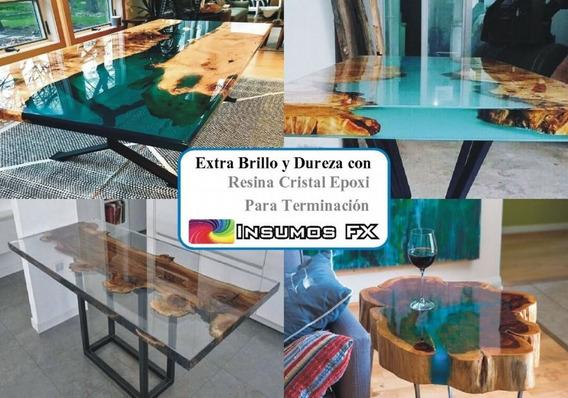 Resina Cristal Vidrio Líquido Epoxi Mesas Mesadas Y Muebles
