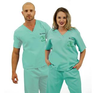 Pijama Cirúrgico Oxford Unissex Verde Piscina Bordado Logo Enfermagem + Nome (23)