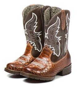 Bota Country Texana Infantil Marrom Masculina Menino 100%