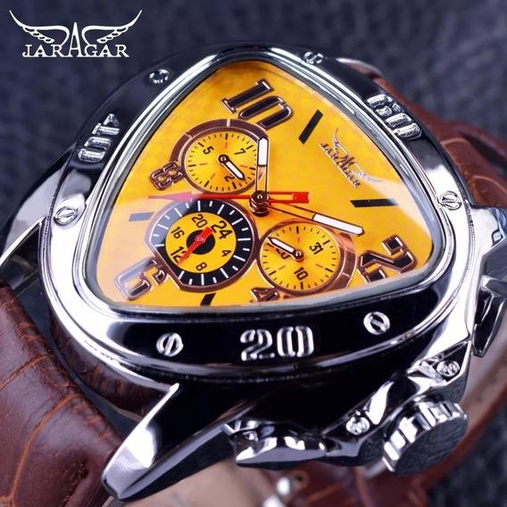 Relógio Masculino Jaragar Geométrico Com Fundo Preto.