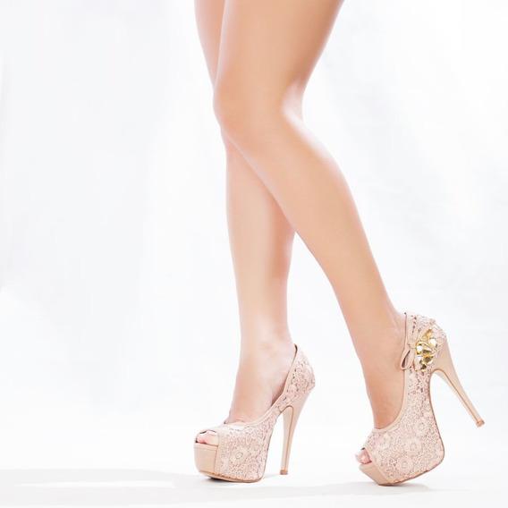 Sapato De Festa Peep Toe Rosé
