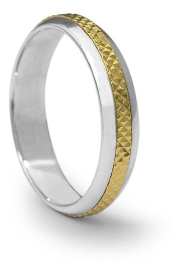 Aliança De Namoro Em Prata Com Aplique Em Ouro 18k