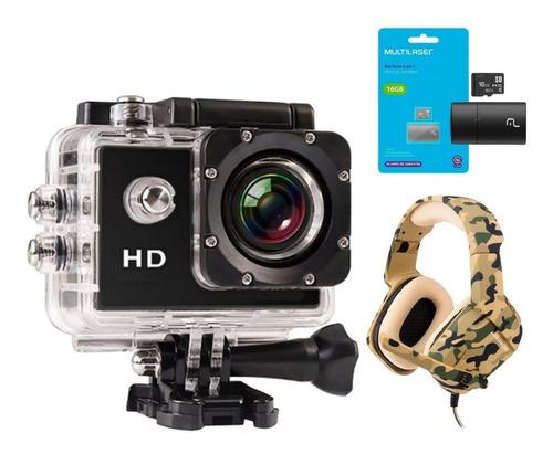 Câmera Webcam Live Capacete Headset Gamer Cartão De Memória