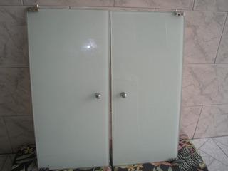 02 Portas De Vidro Branco 72,5 X 34 X 0,8 Cm Com Dobradiças