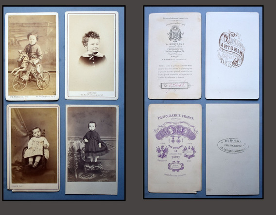 Fotografía 4 Cartes De Visite Niños Paris 1880 Antonin