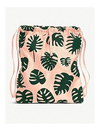 Mochila De Tela Monstera Drawstring Backpack Bando