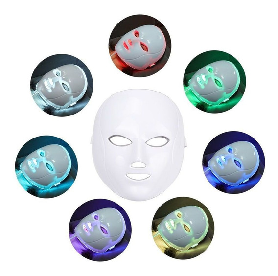Máscara Facial Led 7 Cores Fototerapia Acnes Rugas Clarear