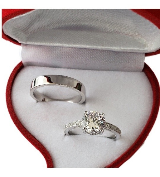 Anillo Parejas Plata Fina 925 Ilusion Matrimonio Compromiso