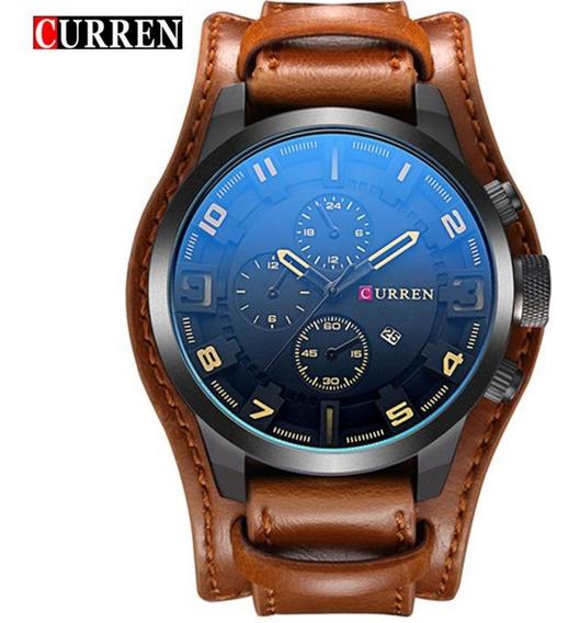 Relógio Masculino Curren 8225 Original Bracelete De Couro Com Calendario Frete Grátis