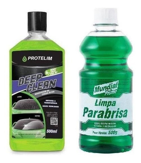 Limpa Parabrisa 500ml + Removedor Chuva Ácida 500ml