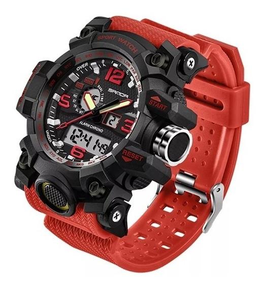 Reloj Hombre Deportivo Análogo Y Digital Fechador Rock Rojo