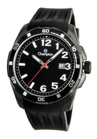 Relógio Masculino Preto Pulseira Silicone Champion Ca31579w