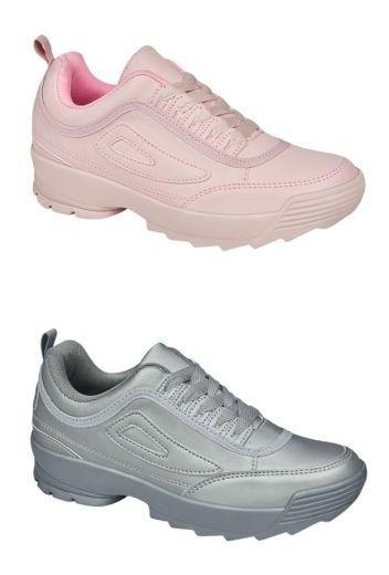 Kit 2 Pares Tenis Sneakers Plataforma Chunk Rosa Plata 31787