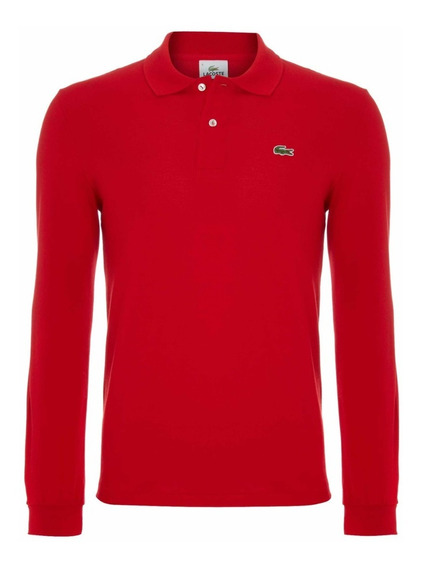 Polo Marca Lacoste En Manga Larga Color Rojo Classic Fit