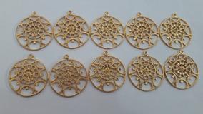 Kit Pingente Mandala Dourada Com 10 Unidades!!!