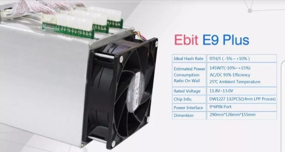 Ebit Ebang E9+ 9.5th/s Bitcoin Minero Programación Venta