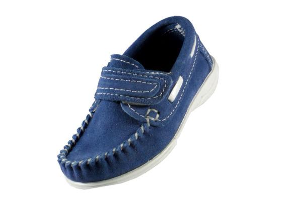 Mocasin Klivers Niño Cuero Gamuzado Azul C/ Abrojo 19 Al 26