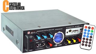 Amplificador 2 Ent. Mic Usb Sd Rca Fm Karaoke 12v-220v Spe