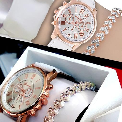 Kit Relógio Feminino Geneva Branco + Pulseira + Caixinha Mdf