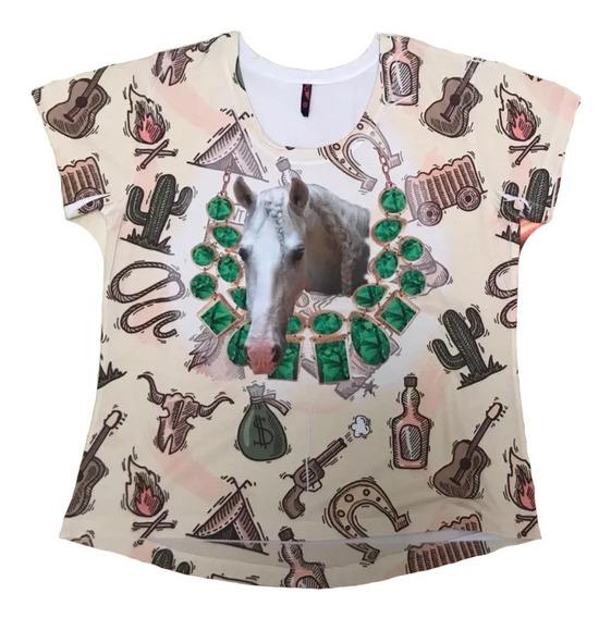Camiseta Feminina Country Cavalo Blusa Baby Look Esmeraldas