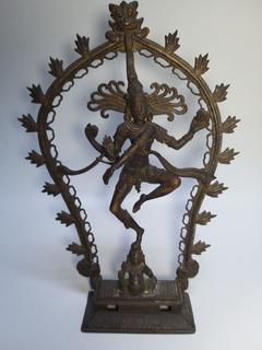 Hermosa Escultura Antigua De Dios Hindu Shiva. Bronce. Hindu