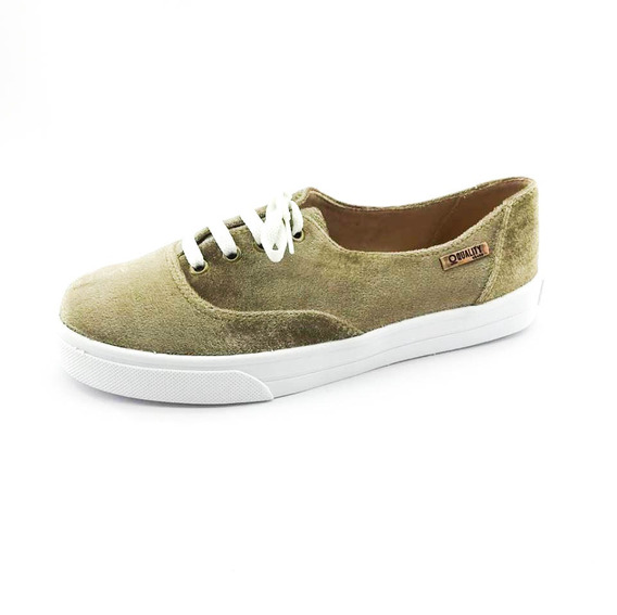 Tênis Quality Shoes Feminino 005 Veludo Bege