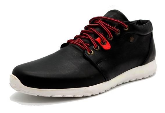 Zapatillas Cuero Hombre Negro Leblu 9014