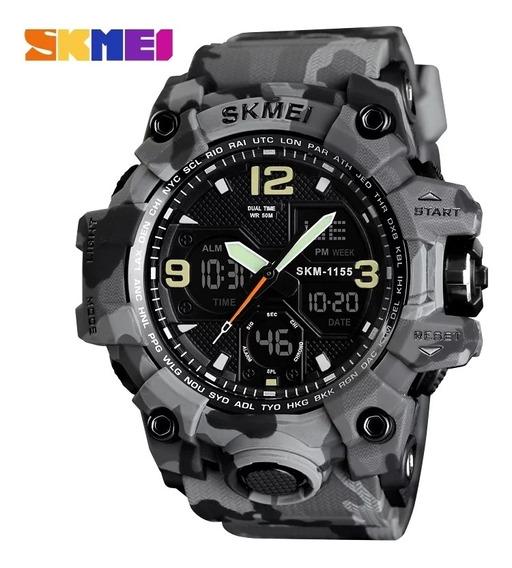 Relógio Masculino Skmei 1155 Cinza Camuflado C\ Frete Grátis