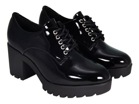 Sapato Vizzano Oxford Salto Grosso Tratorado