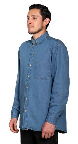Imagen 1 de 7 de Camisa De Mezclilla Industrial Para Trabajo Uso Rudo