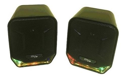 Bocina Usb Myo Mini-speaker 2.0, Led, 3.5mm Conexión De Audi