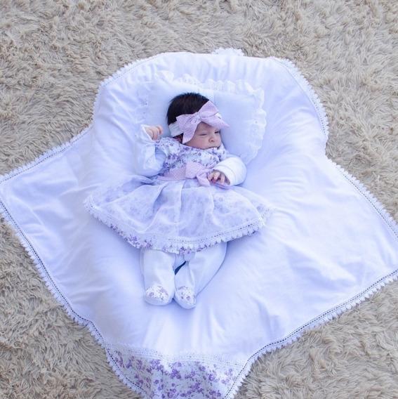 Saída De Maternidade Menina Lívia 5 Peças Cor 3 Lilás