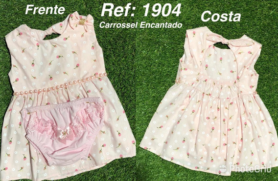 Kits 4peças Vestido Infantil Carrossel Encantado De 0a6mes