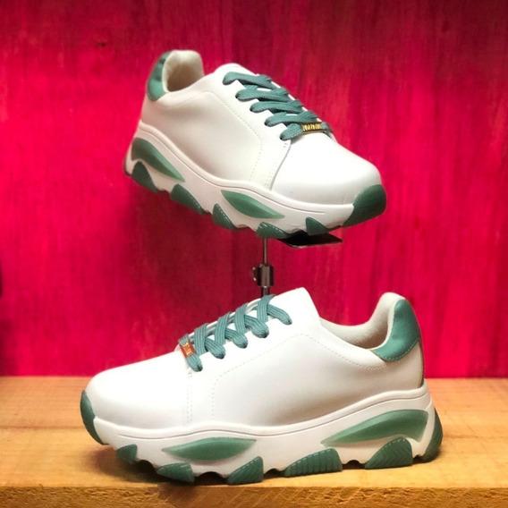 Tênis Feminino Vizzano Branco Verde Chunky Sneaker - Atitude