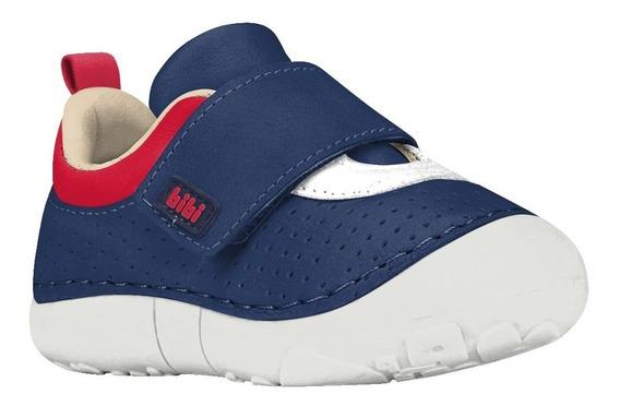 Zapatillas Bebe Azul Bibi Cuero Con Abrojo 1022094