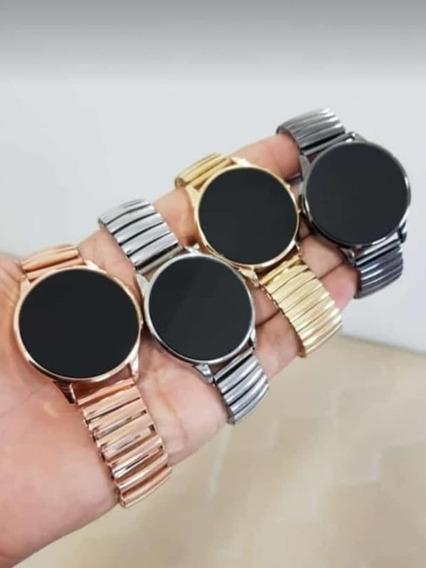 5 Relógios Touch Screnn Redondo Unissex De Aço C/caixa