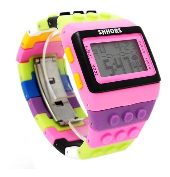 Reloj Lego Bloques Ajustable Digital Shhors Rosa Multicolor