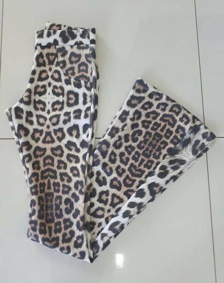 Calça Flare De Tecido Animal Print Tng Calça Feminina Flare