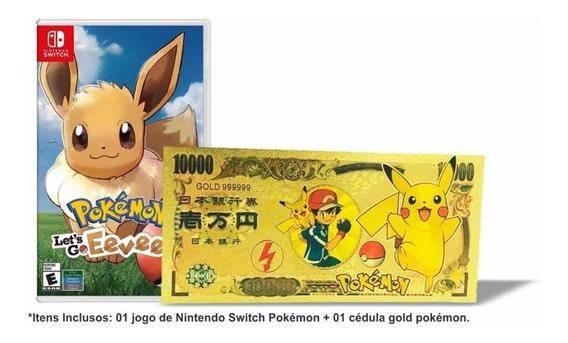 Pokémon Lets Go Eevee! + Poke Money Switch Mídia Física Novo