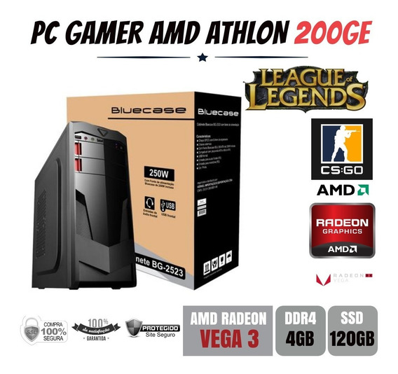 Pc Gamer Amd Athlon 200ge 4gb Ddr4 Vega 3 Apu Ssd120gb
