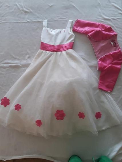 Vestido De Fiesta Niña Talla 8 Rosa Beige Suéter Torero