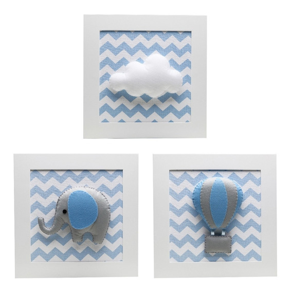 Quadrinhos Quadro Chevron Elefante Nuvem Bebê Infantil Azul