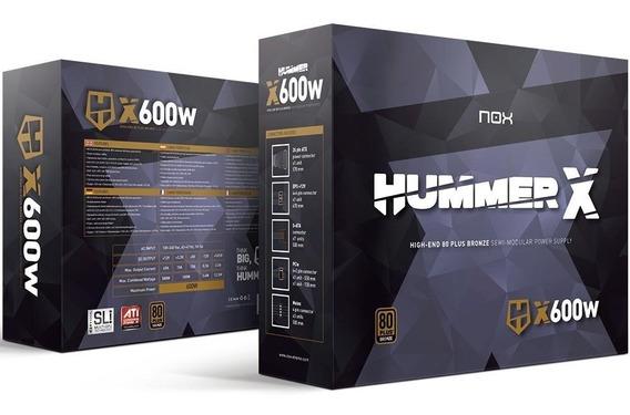 Fonte Nox 600w 80 Plus Bronze Semi-modular Hummer X - Nova!!