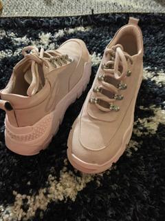 Tenis Sneakers Color Rosa Con Plataforma