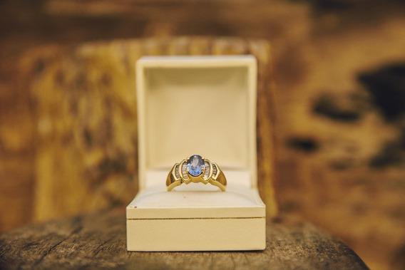 Anillo Diamond Blue 14 K 0.17 Ct Corte Princess